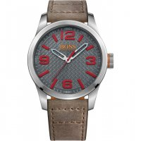 Hugo Boss - Orange, Brown Leather with Stainless Steel Case Gent's Black Dial with Red Numbers Watch, Size 47mm