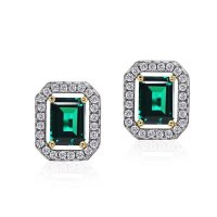 Carat London - Emerald Cut Border Set, Cubic Zirconia Set, Sterling Silver Stud Earrings