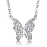 Jools - Cubic Zirconia Set, Silver Fixed Chain Butterfly Necklace