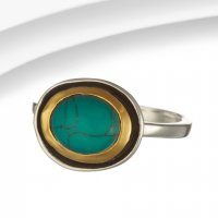 Banyan - Turquoise Set, Sterling Silver Classic Oval Ring, Size P