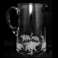 Animo Glass - Elephant, Frosted Glass Tapered Jug, Size 1.7 Litre