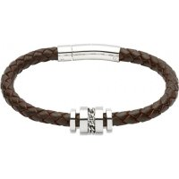 Unique - Dark Brown Leather with Stainless Steel Bracelet, Size 21cm