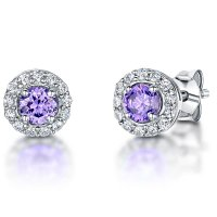 Jools - Amethyst and Cubic Zirconia Set, Silver Stud Earrings, Size 7mm