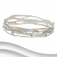 Banyan - Green Amethyst, Pearl Set, Sterling Silver, Gold Plated Hinged Bangle