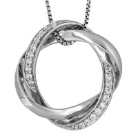 Jools - Cubic Zirconia Set, Silver Round Necklace