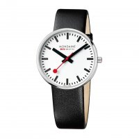 Mondaine - Gents, Stainless Steel and Black Leather Large Face Watch