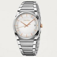 Calvin Klein - Men's Step, Stainless Steel White Face, Rose Gold Dial Watch