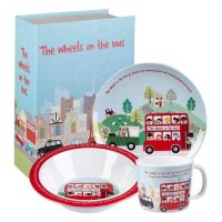Churchill - The Wheels On The Bus 3 Piece Melamine Breakfast Set