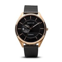 Bering - Men's Classic, Rose Gold Plated Stainless Steel Milanese Strap, Automatic Watch