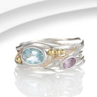 Banyan - Blue Topaz and Amethyst Set, Sterling Silver Ring, Size N