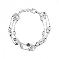 Links of London - Essentials, Sterling Silver Three Row Beaded Bracelet
