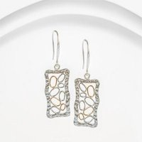 Banyan - Fine Silver and Gold Wire Bubble Earrings