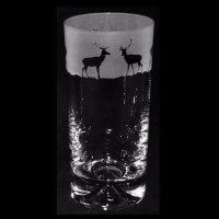 Animo Glass - Stag, Frosted Glass High Ball