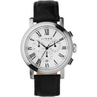 Links of London - Richmond, Stainless Steel Black Leather/Chrono Watch