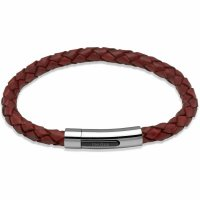 Unique - Antique Rust Leather and Stainless Steel Bracelet, Size 21cm