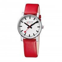 Mondaine - Gents, Stainless Steel and Red Leather Watch