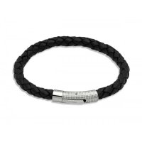 Unique - Black Leather and Stainless Steel Bracelet, Size 21cm