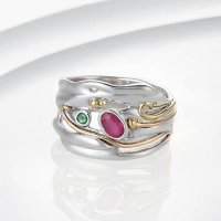 Banyan - Ruby and Emerald Set, Silver Organic Ring, Size P