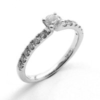 Diamond Solitaire Ring in 18ct. White Gold