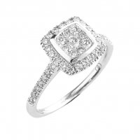 Guest and Philips - Diamond 0.50ct. HSi Set, 18ct. White Gold Cluster Ring, Size N