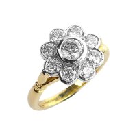 18ct. Yellow and White Gold, Diamond Daisy Cluster Ring