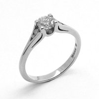 Solitaire Diamond Ring with Diamond Set Shoulders, in Palladium