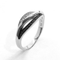 Diamond Ring Set with Black and White Diamonds in 9ct. White Gold