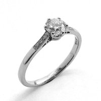 Solitaire Ring Set with Diamonds in 18ct. White Gold