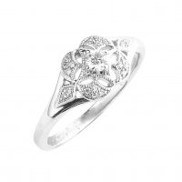 18ct. White Gold and Diamond, Floral Cluster Ring.