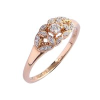 18ct. Rose Gold and Diamond, Cluster Ring.