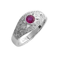 18ct. White Gold, Ruby and Diamond Cluster Ring.