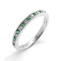 Eternity Ring, Set with Emeralds and Diamonds in 18ct. White Gold
