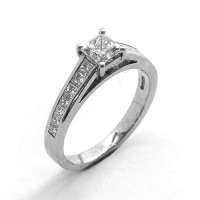 Solitaire Ring with Diamond Set Shoulders, Set in Platinum