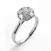 Diamond Cluster Ring Set in 18ct. White Gold