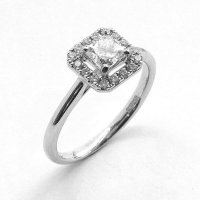 Cluster Engagement Ring, Diamond Set in Platinum