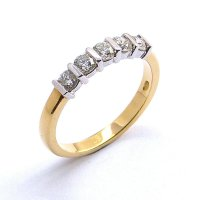 Five Stone Diamond Eternity Ring in 18ct. Yellow and White Gold