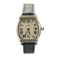 Cartier, Platinum and Leather Watch