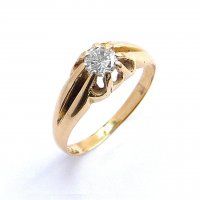 Single Stone Ring, 'Gypsy Set' with a Diamond in 18ct. Yellow Gold