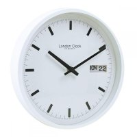 London Clock - White Day Date Wall Clock
