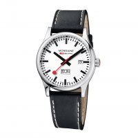 Mondaine - Gents, Sport Line, Stainless Steel and Black Leather Day/Date Watch