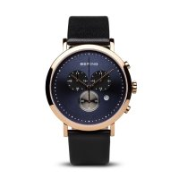 Bering - Men's Classic Collection, Rose Gold Plated and Black Leather Chronograph Watch