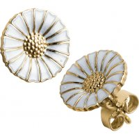 Georg Jensen - Daisy, Gold Plated, Silver and White Enamel Earrings