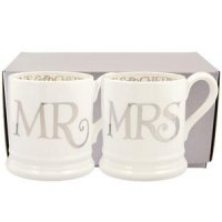 Emma Bridgewater - Silver Toast, Mr And Mrs, Set Of 2 Pottery 1/2 Pint Mugs