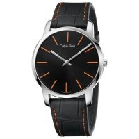 Calvin Klein - Men's City, Leather Strap Black Dial with Orange Detail Watch
