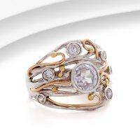 Banyan - Cubic Zirconia Set, Silver and Yellow Gold Plate Ring, Size N