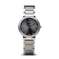 Bering - Ceramic Ladies, Swarovski Crystal Set, Stainless Steel and Ceramic Grey Watch