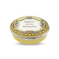 Halcyon Days - Happiness On Your Wedding day, Enamel Pill Box