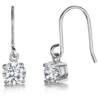 Jools - Cubic Zirconia Set, Silver Hook Earrings, Size 6mm
