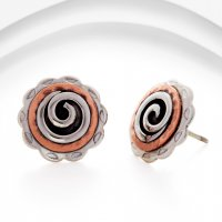 Banyan - Sterling Silver And Copper Stud Earrings