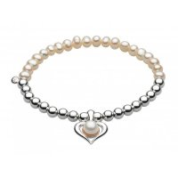 Kit Heath - Amelia, Rose Gold Plated, Sterling Silver Pearl Heart Bracelet